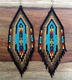 Gold and Turquoise Love Earrings