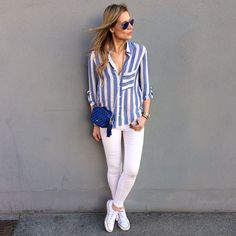 Simplicity is the key. Wearing shirt Look by Blue Striped Shirt Outfit, Outfits Con Camisa, Vogue, White Jeans, Zara, Shirt Dress, Clothes For Women, My Style, Womens Fashion