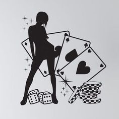 "Style and Apply Poker Lady Wall Decal Size: 48"" H x 46"" W, Color: Dark Green"