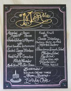 Chalkboard Art MENU Sign for your Wedding or by watermelonstand, $120.00