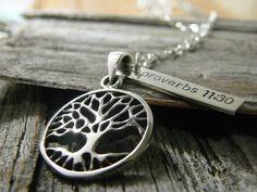 tree of life sterling silver necklace handstamped by PureRoxFaith, $72.00. Instead of bible verse I'd put my daughter's date of birth