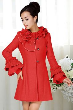 Fashion O Neck Long Sleeve Single Breasted Long Red Woolen Coat