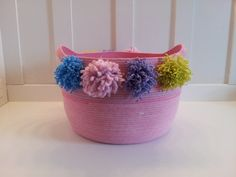Extra Large Pink Pom Pom Basket by PrairieStMercantile on Etsy