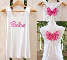 BRIDE Bow Tank Top. Racerback bow. Bride shirt. Tank Top. Bridal Tank Top. Bachelorette Party Tank Tops. Work out tank top. by TheClover88 on Etsy https://www.etsy.com/listing/213087772/bride-bow-tank-top-racerback-bow-bride