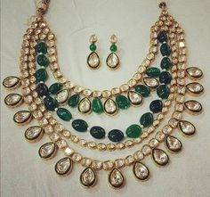 Four layers kundan jadau necklace with square shaped and round flat diamonds all over. Large emerald drops layer attached in the center a. Pakistani Bridal Jewelry, Bollywood Jewelry, Indian Wedding Jewelry, Indian Jewelry, Bridal Jewellery, Indian Jewellery Online, Indian Jewellery Design, Jewelry Design, Nizam Jewellery