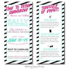 Neon Striped Weekend Bachelorette Party Invitation by BrittanyGarnerDesign