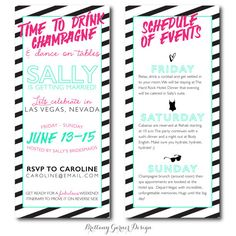 Neon Striped Weekend Bachelorette Party Invitations With Itinerary