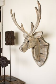 1600 wood plans - The Kalalou Recycled Wooden Deer Head Wall Hangingwill give an eye-catching look to your wall. ThisDeer look natural and have a great finish. The Deer Head Wall Woodworking Drawings - Get A Lifetime Of Project Ideas and Inspiration! Woodworking Projects Diy, Diy Wood Projects, Teds Woodworking, Woodworking Furniture, Popular Woodworking, Wood Furniture, Woodworking Workshop, Recycled Furniture, Furniture Plans