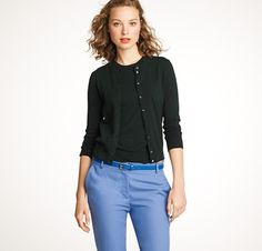 Own: J. Crew 'Jackie cardigan' in white, navy, and black.