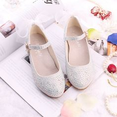 >> Click to Buy << Top quality Children girl Cinderella princess bling shoes single Leather Shoes with lace dance High-heeled 26-38 2colors TX09 #Affiliate