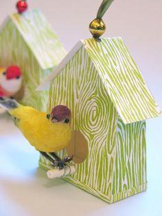 Cute woodgrain finished birdhouse ornaments.