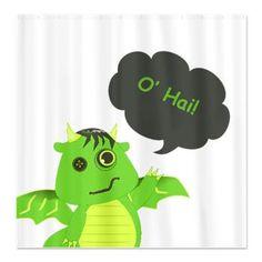 O' Hai Cute Zombie Dragon Shower Curtain $40.99