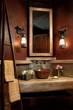 Traditional Rustic Lake House Bathroom Design, Pictures, Remodel, Decor and Ideas - page 2 Rustic Bathroom Designs, Bathroom Ideas, Bathroom Vanities, Design Bathroom, Bathroom Interior, Bathroom Colors, Bathroom Remodeling, Remodeling Ideas, Bathroom Inspiration