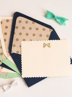 Personalized Stationery Set 6 Gold and Ivory