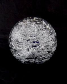Beranek Glassworks Jan Beranek 9204 -- large crushed ice paperweight  sculpture-- Czech art glass -- signed