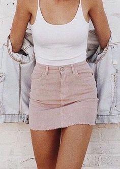 #summer #outfits / pink skirt + tank top