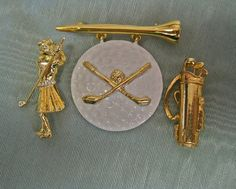 Golf Brooch Collection Woman Golfer Golf Bag and Signed AJC Golf Ball Tee Golf Clubs Vintage 80s Instant Collection