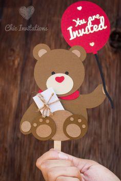 Teddy Invitation Bear Invitation Birthday por ChicInvitationsByCA