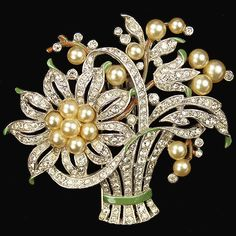 Trifari 'Alfred Philippe' Pave Pearl and Enamel Flower Basket Pin