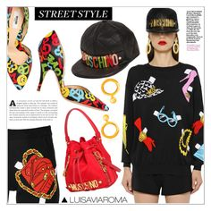 """""""Straight Up Street Style with Moschino!"""" by luisaviaroma ❤ liked on Polyvore featuring Moschino, StreetStyle, women, luisaviaroma, womensFashion and lvr"""