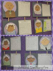 100th Day writing activity with self portraits
