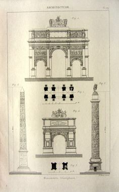 1852 antique architecture print Triumphal arch by LyraNebulaPrints