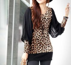 Stylish Scoop Neck Leopard Print Chiffon Splicing Long Sleeve Women's T-shirt Leopard Print Top, Leopard Dress, Cheetah, Cardigans For Women, Blouses For Women, Women's Blouses, Love Fashion, Fashion Outfits, Asian Fashion