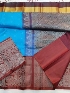 Blue Colour kuppadam silk cotton saree with Brown Colour Silver zari Border & Zari Pallu