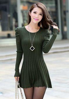 $33.99 Army Green Puff Sleeve Braided Ribbed Sweater Dress @ MayKool.com