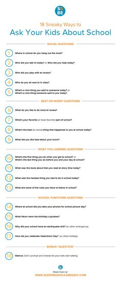 "Are you met with silence when you ask your kids about school? Check out these 18 effective questions to ask kids ""how was school?"" #school"