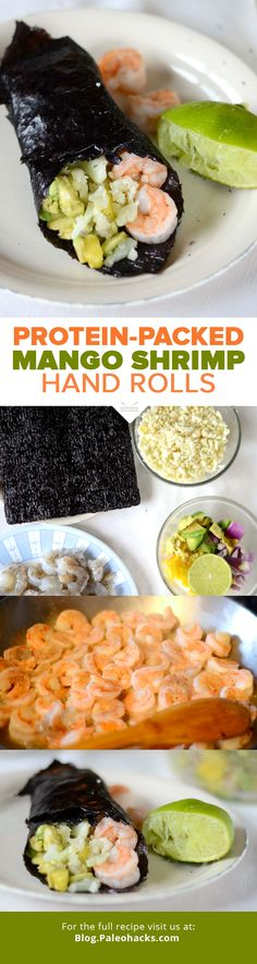 These hand rolls made with protein-packed shrimp, sweet mango, and creamy avocado are a perfect lunch or party dish! For the full recipe visit us at: http://paleo.co/shrimproll #paleohacks #paleo
