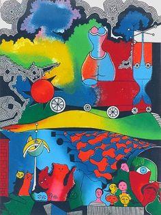 Alfred Pellan - En technicolor, (...). (sérigraphie). Alfred Pellan, Beaux Arts Paris, Alex Colville, Joan Mitchell, Canadian Artists, Art Plastique, Art Images, Mixed Media, Creativity
