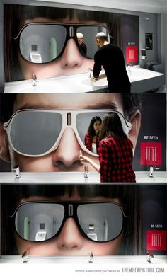 Restroom mirrors.....may be one of the coolest things I have ever seen.....