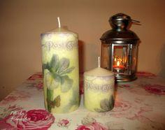 Sada sviečok zdobená dekupážou s motívom Post Card, fialový kvietok.   http://www.sashe.sk/HomeArt/detail/sada-sviecok-post-card