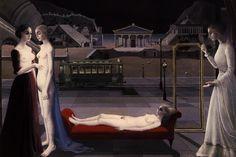 Le Rendez-vous d'Ephese (The Visit To Ephesus) by Paul Delvaux, Oil on canvas, 240 x 150 cm. Paul Delvaux, Rolf Armstrong, Rene Magritte, Ephesus, Surrealism Painting, Art Optical, Optical Illusions, Art Database, 2d Art
