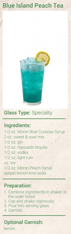 Blue Island Peach Tea made with Blue Curacao, tequila and Peach flavor. It's a vacation in a glass