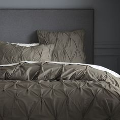 Organic Cotton Pintuck Duvet Cover + Shams - Soot, from West Elm. Grey Duvet, Neutral Bedding, Brown Bedding, Home Bedroom, Master Bedroom, Bedrooms, Bedroom Ideas, Serene Bedroom, Bedroom Colors