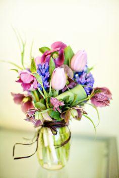 Pretty flowers in a mason jar