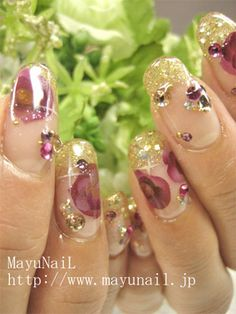 Glossy Bling Gold Glitter French Nail Art ♫