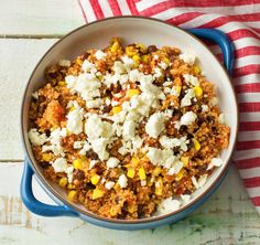 "One-Pot Mexican Quinoa with Sweet Corn, Feta, and Jalapeño | Delicious Vegetarian Recipe from HelloFresh + you get to skip the dishes. Use code ""HELLOPINTEREST"" for $25 off your 1st HelloFresh box!"