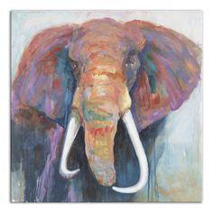 World Menagerie 'Colorful Elephant' Painting Print on Wrapped Canvas Bull Elephant, Elephant Canvas, Elephant Print, Cool Paintings, Painting Frames, Painting Prints, Watercolor Paintings, Canvas Wall Art, Canvas Prints