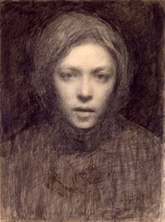 """Ellen Thesleff self-portrait drawing, 1899. From """"100 Self-Portrait Drawings from 1484 to Today"""""""