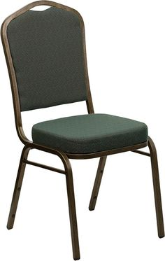 HERCULES Series Crown Back Stacking Banquet Chair with Green Patterned Fabric…