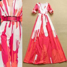 Top Grade New Fashion Princess Long Dress 2016 Spring Women Sexy V-Neck Charming Printed Long Sleeve Maxi Dress Special Day Size: S/2/36:Bust 86cm Waist 60cm Sleeve 60cm Length 150cm M/4/38:Bust 90cm Waist 64cm Sleeve 61cm Length 151cm L/6/40:Bust 94cm Waist 68cm Sleeve 62cm Length 152cm XL/8/42:Bust 98cm Waist 72cm Sleeve 63cm Length 153cm 1inch=2.54cm Description ...
