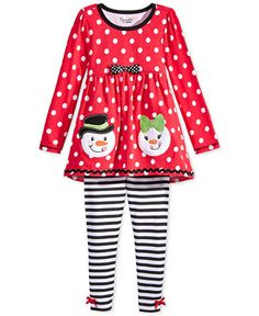 Nannette Little Girls' 2-Piece Snowman Tunic & Striped Leggings Set - Kids & Baby - Macy's
