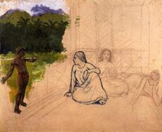 """""""Tahitians at Rest"""" by Paul Gauguin, unfinished ca. 1891"""