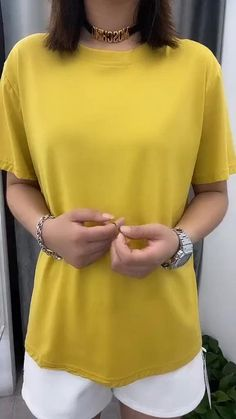 Diy Clothes Life Hacks, Clothing Hacks, Mode Outfits, Casual Outfits, Fashion Outfits, Outfits With T Shirts, Long Shirt Outfits, Dress Outfits, Diy Fashion Hacks