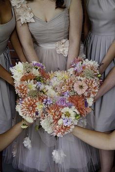muted tones + peach bouquets, photo by Studio623Photography.com