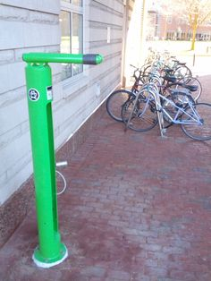 A new self-service bike repair stand, part of Northeastern's ongoing efforts to be a greener campus
