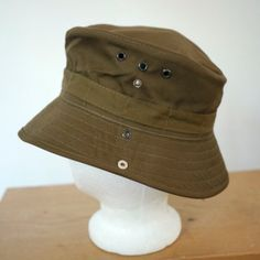 0d5dc40b Vintage Men's Hats · NEW South African Military Army Uniform Cotton Canvas  Wide Brim Hat 55 19